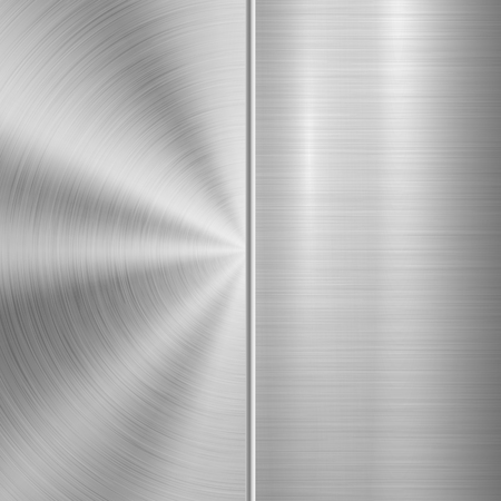 Metal technology background with circular and straight polished, brushed texture, chrome, silver, steel, aluminum for design concepts, web, prints, posters, wallpapers, interfaces. Vector illustration Ilustrace