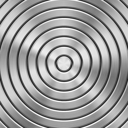 Metaaltechnologieachtergrond met cirkelvormige gepolijste, geborstelde textuur, chroom, zilver, staal, aluminium en cirkelschuine kanten voor ontwerpconcepten, Web, drukken, behang, interfaces. Vector illustratie.
