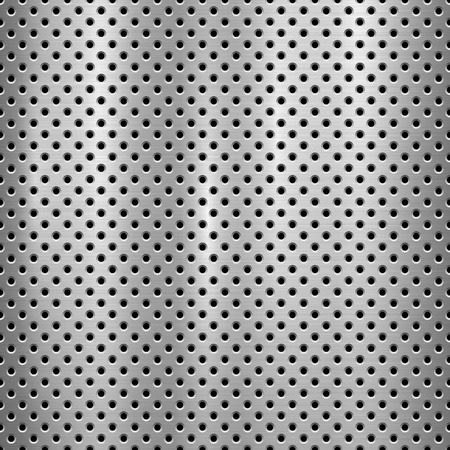 Metal technology background with with seamless circle perforated pattern and circular polished, brushed texture, chrome, silver, steel for design concepts, web, prints, wallpapers. Vector illustration Illusztráció