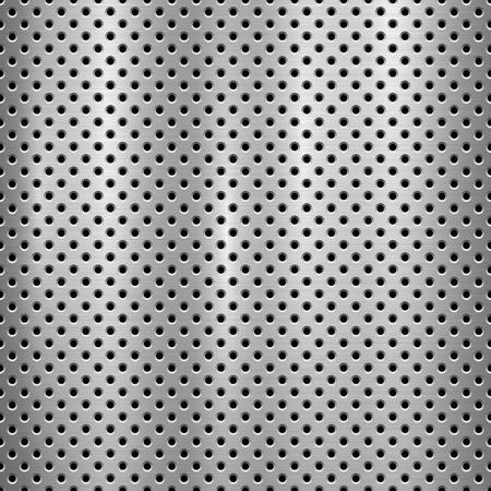 Metalen technische achtergrond met met naadloze cirkel geperforeerd patroon en circulaire gepolijst, geborsteld textuur, chroom, zilver, staal voor ontwerpconcepten, web, prints, wallpapers. Vector illustratie