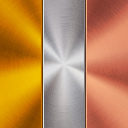 Metal gold, chrome and bronze technology background with polished, circular brushed texture, silver, steel, aluminum, copper for design concepts, wallpapers, web and prints. Vector illustration.