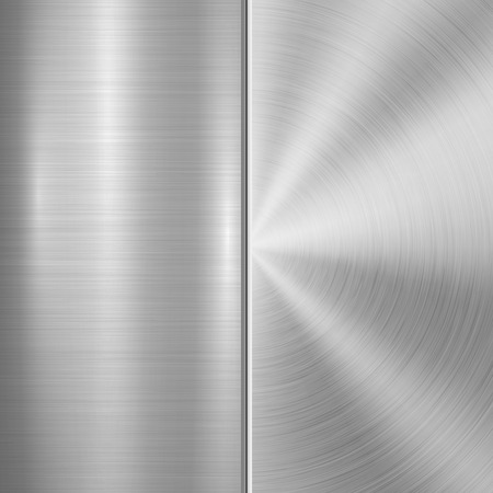 brushed steel: Metal technology background with circular and straight polished, brushed texture, chrome, silver, steel, aluminum for design concepts, web, prints, posters, wallpapers, interfaces. Vector illustration Illustration