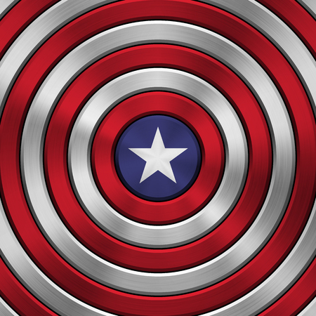 4th of July Independence Day metal pattern with circular polished, brushed concentric texture, chrome, silver, steel for logo, wallpapers, design concepts, web, prints. Vector illustration.