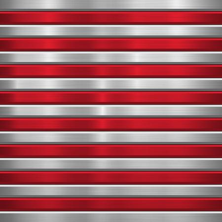 Kovové technologické pozadí s červenými vodorovnými pruhy, leštěné, kartáčovaná textura, chrom, stříbro, ocel, hliník a úkosy pro designové koncepty, tapety, web, tisky. Vektorové ilustrace.
