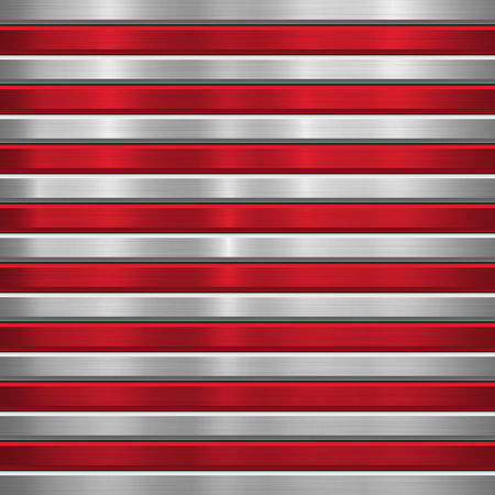 Metal technology background with red horizontal stripes, polished, brushed texture, chrome, silver, steel, aluminum and bevels for design concepts, wallpapers, web, prints. Vector illustration. Ilustrace