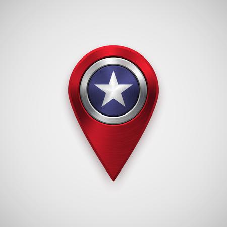 4.července Nezávislost mapy ukazatel odznak, GPS tlačítko šablony s kovovým kruhovým leštěným, kartáčovaný soustředné textury, chrom, oceli, stříbro, realistické stín, světlo pozadí. Vektorové ilustrace