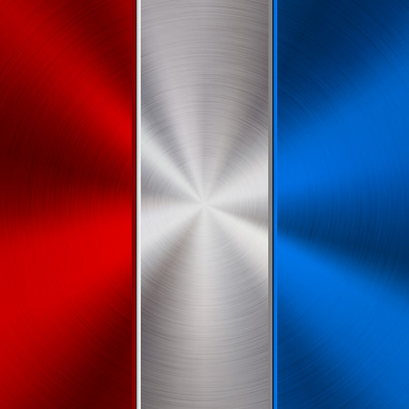 Red, white and blue metal technology background with polished, brushed circular concentric texture