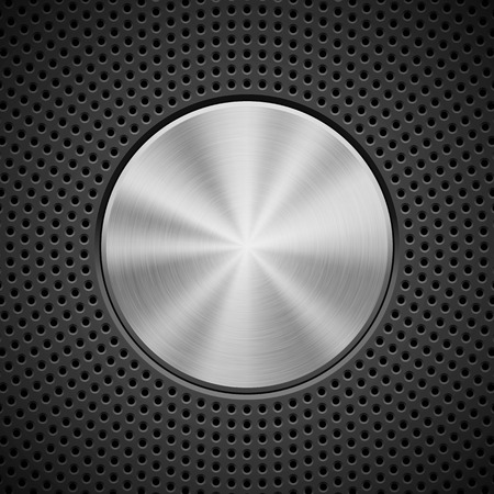 Black technology background with circle perforated pattern, bevels and metal circular polished brushed texture for design concepts, wallpapers, web, presentations, prints. Vector illustration. Ilustrace