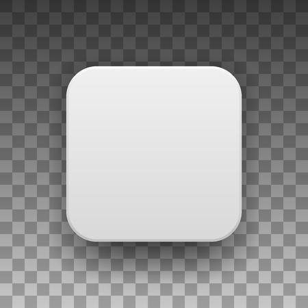 Bílá abstraktní ikonu aplikace, prázdný tlačítko šablony s realistickým stínem a světlém pozadí pro konceptů, webové stránky, uživatelská rozhraní, rozhraní, aplikací, aplikací, maket. Vektorové ilustrace. Ilustrace
