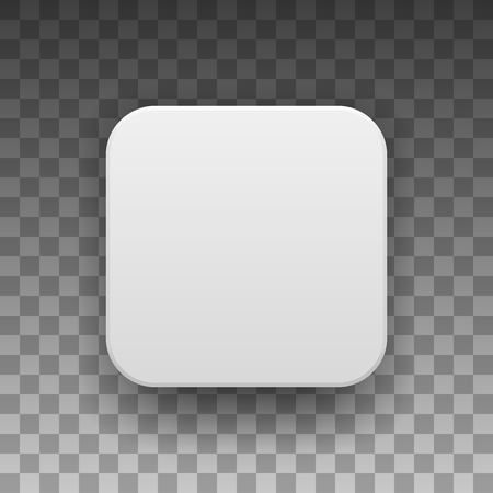 White abstract app icon, blank button template with realistic shadow and light background for design concepts, web sites, user interfaces, UI, applications, apps, mock-ups. Vector illustration.