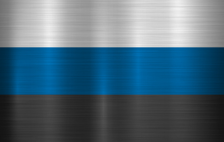 Metal flag of Estonia, EESTI with official proportions and colors, polished, brushed texture, chrome, silver, steel for backgrounds, wallpapers, design, web, print. Vector illustration. Ilustrace