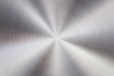 Metal abstract technology background with circular polished, brushed concentric texture, silver, steel, aluminum for design concepts, web, prints, wallpapers, interfaces. Vector illustration.