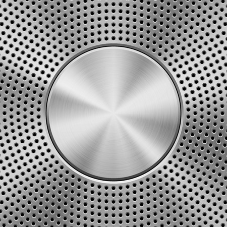 Metal technology background with circle perforated pattern, speaker grill texture, circular polished, brushed concentric texture, steel, silver and black round badge. Vector illustration.