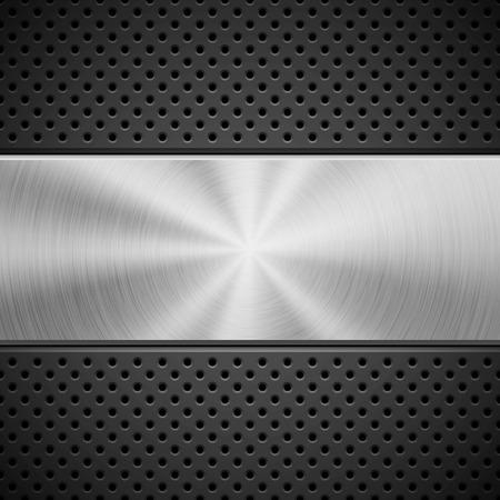 Černé abstraktní technologické pozadí s bezešvým kruhovým děrovaným vzorem