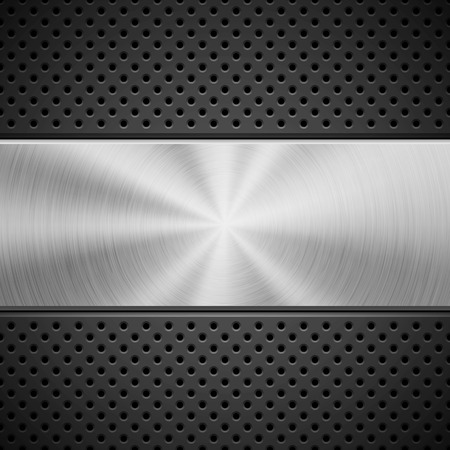 Black abstract technology background with seamless circle perforated pattern Ilustrace