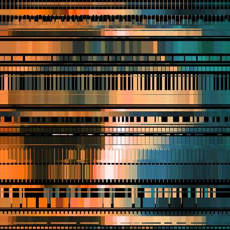 Glitch abstraktní pozadí s deformačním efektem, chyba, chyba, náhodné vodorovné oranžové a modré barvy pro koncepty, plakáty, tapety a další.