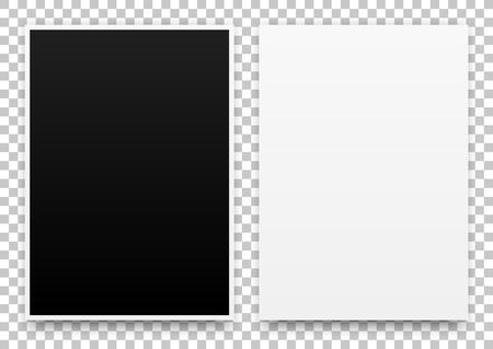 A2 bílé a černé plakáty realistická šablona, maketa s okraji, realistické stín a průhledné pozadí pro designové koncepty, prezentace, web, identitu, výtisky. Vektorové ilustrace. Ilustrace