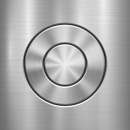 Metal technology background with abstract circle bevels and polished, brushed texture, silver, steel, aluminum for design concepts, web, prints, wallpapers, interfaces. Vector illustration.