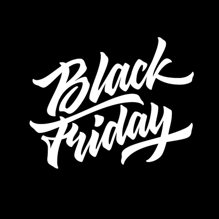 Black Friday Sale lettering, handmade calligraphy and dark background for logo, design concepts, badges, banners, labels, prints, posters, web, presentation, promo. Vector illustration. Ilustrace