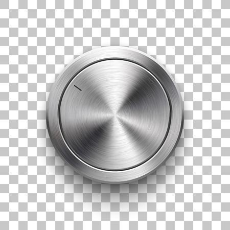 オーディオの音量ノブ、円形の金属の技術音楽ボタン テンプレート テクスチャ、クロム、デザインの概念、銀、ステンレス、リアルな影を磨いた we