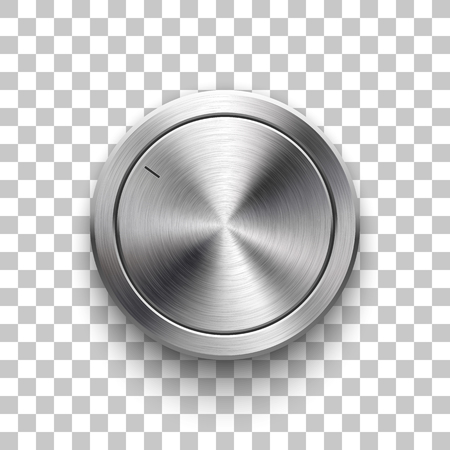 Audio volume knob, technology music button template, with metal circular brushed texture, chrome, silver, steel and realistic shadow for design concepts, web, interfaces, UI, apps. Vector Illustration 向量圖像