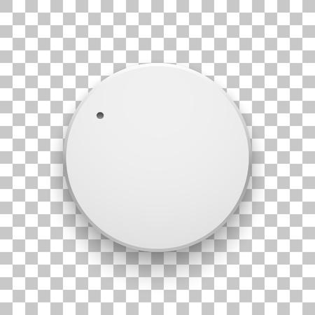Knoflík pro hlasitost bílé technologie, tlačítko pro hudbu s realistickým stínem, rozsah a průhledné pozadí pro návrhové koncepty, web, rozhraní, uživatelské rozhraní, aplikace, aplikace. Vektorové ilustrace. Ilustrace