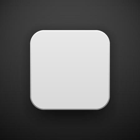 Bílá abstraktní ikona aplikace, prázdné tlačítko šablony s realistickým stínem a černým pozadím pro koncepty návrhu, webové stránky, uživatelské rozhraní, uživatelské rozhraní, aplikace, aplikace, makety. Vektorové ilustrace.