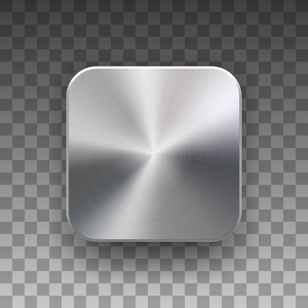 Metal blank app icon, technology button template with brushed texture, chrome, silver, steel, realistic shadow and transparent background for web sites, interfaces, UI, applications, apps. Vector. Reklamní fotografie - 86260344
