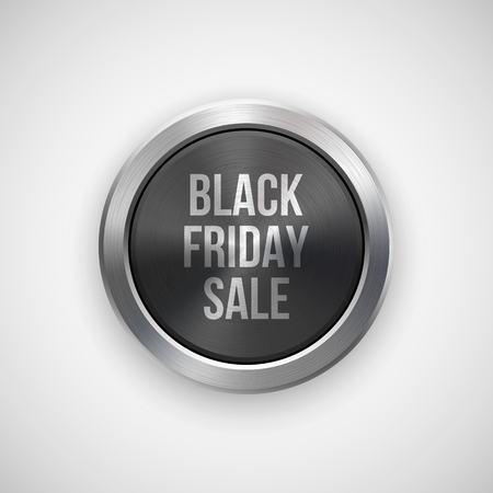 Black friday sale badge, abstract technology circle perforated button with metal texture, chrome, silver, steel and realistic shadow for logo, design concepts, interfaces, apps. Vector illustration. Reklamní fotografie - 86487986