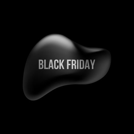 Black friday abstract badge, premium luxury bubble button template with reflex, realistic shadow and dark background for logo, design concepts, banners, web, prints. Vector illustration.