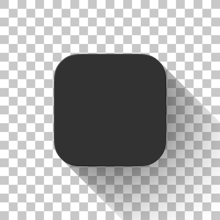 Černá ikona, šablona prázdného tlačítka, maketa s plochým navrženým stínem a průhledným pozadím pro návrhové koncepty, aplikace, aplikace, internetové stránky, web, uživatelské rozhraní, uživatelské rozhraní. Vektor.