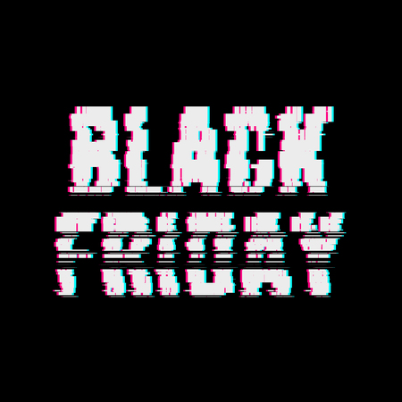 Glitch Black Friday abstract typography, distortion effect, bug, error, random horizontal white, monochrome lines for design concepts, posters, wallpapers, presentations, prints. Vector illustration.