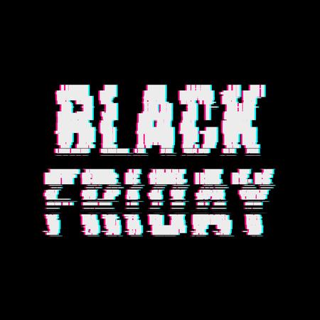 Glitch Black Pátek abstraktní typografie, efekt zkreslení, chyba, chyba, náhodné vodorovné bílé, černobílé čáry pro koncepty návrhu, plakáty, tapety, prezentace, výtisky. Vektorové ilustrace. Ilustrace