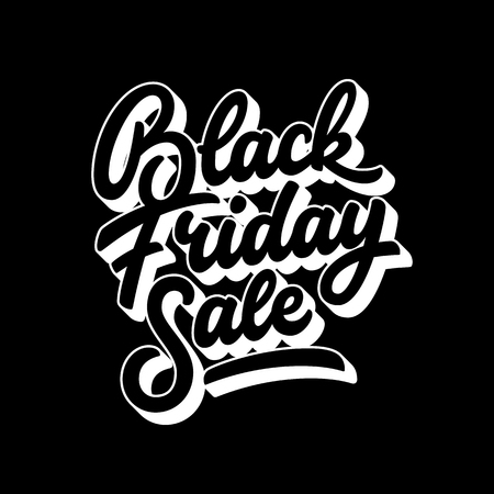 Black Friday Sale handmade lettering, 3d oblique calligraphy with block blended white shade and dark background for logo, banners, labels, badges, posters, web, presentation. Vector illustration. Ilustrace