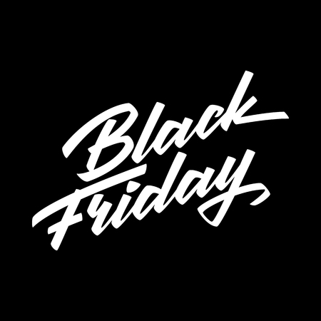 Black Friday Sale badge with handmade lettering, calligraphy and dark background for logo, banners, labels, prints, posters, web, presentation. Vector illustration. Reklamní fotografie - 88177377