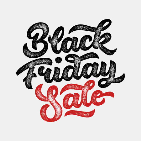 Black Friday Sale handmade lettering, calligraphy with film grain, noise, dotwork, grunge texture and light background for logo, banners, labels, badges, prints and web. Vector illustration.