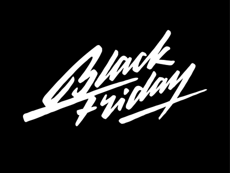 Black Friday Sale lettering, handmade calligraphy and dark background for design concepts, badges, banners, labels, prints, web and promo.