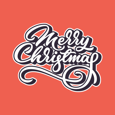 Merry Christmas lettering for banners, labels, postcards, posters, prints and web.