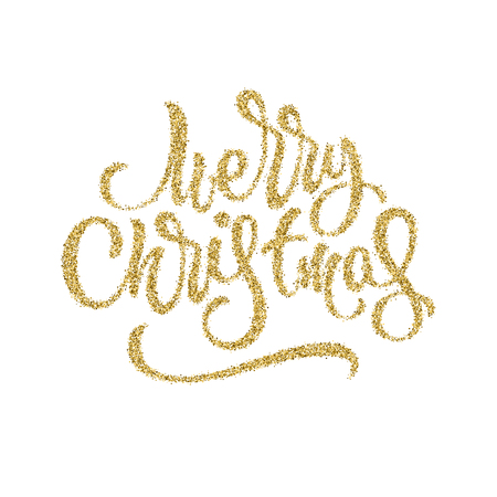 Merry Christmas, XMAS gold glitter brushpen lettering, calligraphy with white background for logo, design concepts, banners, postcards, prints, posters and web. Vector illustration.