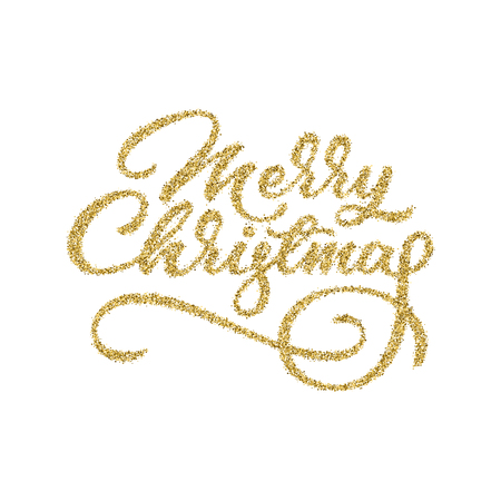 Merry Christmas, XMAS gold glitter brushpen lettering, calligraphy with white background for logo, design concepts, banners, labels, postcards, invitations, prints, posters, web. Vector illustration.