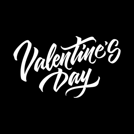Valentines day, 14th february brushpen lettering, handwritten calligraphy for logo, design concepts, banners, badges, labels, postcards, invitations, prints, posters, web. Vector illustration. Reklamní fotografie - 93232661