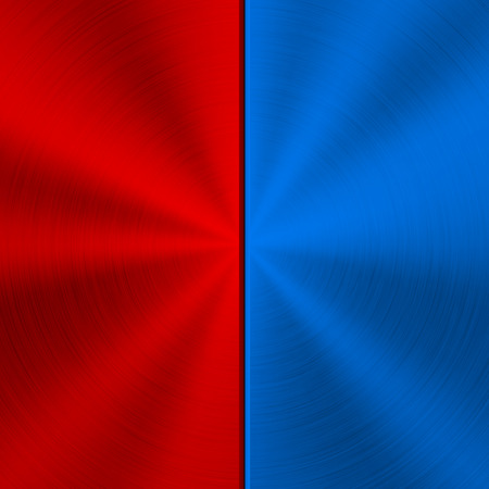 Red and blue metal technology background with polished, brushed circular concentric texture,  silver, steel, for design concepts, web, posters, wallpapers and prints. Ilustrace