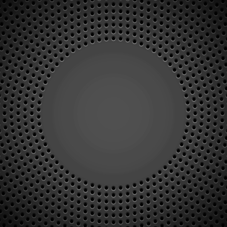 Black abstract technology background with circle perforated pattern, speaker grill texture and bevels for design concepts, wallpapers, web, presentations and prints. Vector illustration. Ilustrace