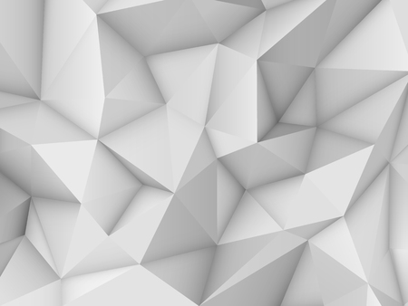 White abstract low-poly, horizontal polygonal triangular mosaic background for design concepts, posters, banners, web, presentations, prints. Vector illustration. Realistic 3D render design template. Ilustrace