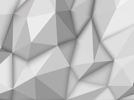 White abstract low-poly, horizontal polygonal triangular mosaic background for design concepts, posters, banners, web, presentations, prints vector illustration realistic 3D render design template.