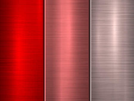 Red, bronze and pink metal technology background with polished, brushed circular concentric texture, chrome, silver, steel, for design concepts, web, wallpapers and prints. Vector illustration. Illustration