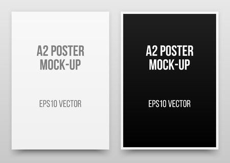 A2 white and black posters realistic template, mock-up with margins, realistic shadow and light background for design concepts.Vector illustration. Reklamní fotografie - 97685879