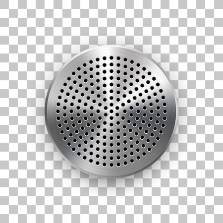 Abstract circle badge, audio button template with circle perforated speaker grill pattern, metal texture, chrome, steel, silver and realistic shadow for logo, badges, web, prints. Vector illustration.