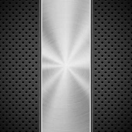 Black technology background with grate perforated pattern and circular polished, brushed concentric metal texture, chrome, steel, silver. Vector illustration.