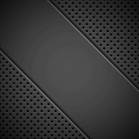 Black technology background with circle grate perforated pattern, speaker grill texture and bevels for design concepts, wallpapers, web, presentations and prints. Vector illustration.
